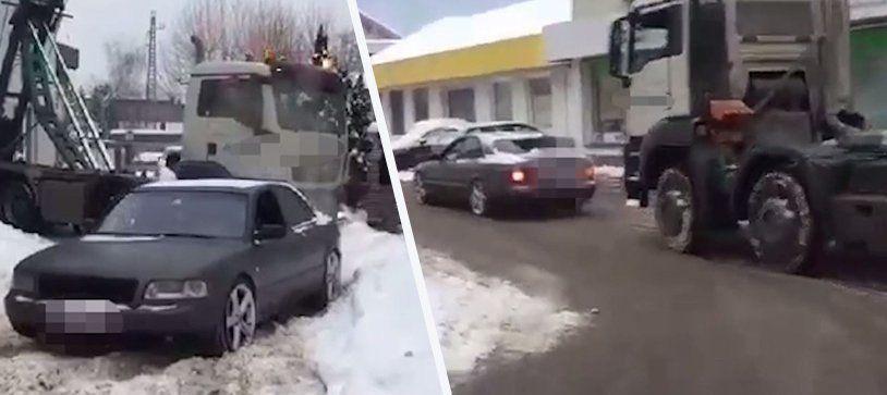 Quattro-Power: 400 PS starkerAudi zieht in Bludenz einen Lkw aus dem Schnee