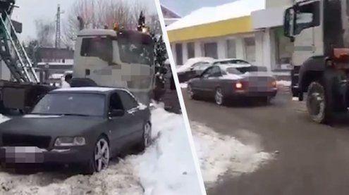 Quattro-Power: 400 PS starker Audi zieht Lkw aus dem Schnee