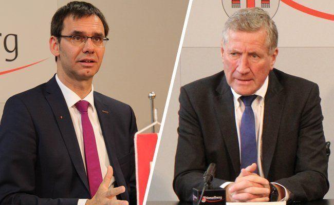 Landeshauptmann Markus Wallner und Sicherheitslandesrat Erich Schwärzler (beide ÖVP) bekräftigen: Das Land unterstützt die Vorarlberger Gemeinden bei INvestitionen zum Schutz vor Naturgefahren.
