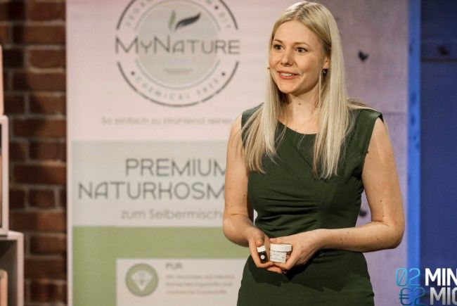 "Alena Flatz beim Pitch von ""My Nature Cosmetics"""