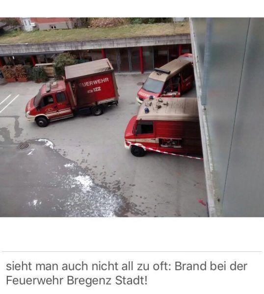 Vorarlberg: Brand in der Fahrzeughalle der Feuerwehr Bregenz Stadt