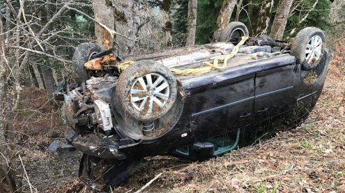 In Wald gelandet: Auto stürzt ohne Fahrer über Böschung