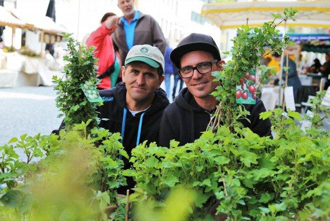 Zairkhan und Stefan freuten sich über den großen Andrang beim Obstbaummarkt in Feldkirch.