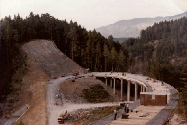 Bau der Rainbergbrücke an der L73. Foto vom September 1980.