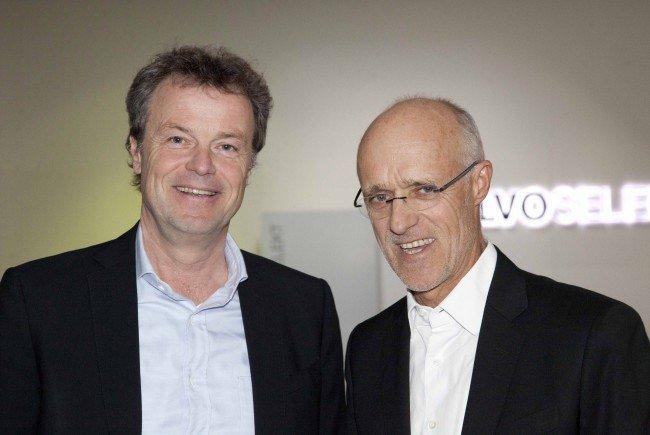 ALPLA HC Hard-Präsident Günther Lehner mit Olympiasieger Toni Innauer.