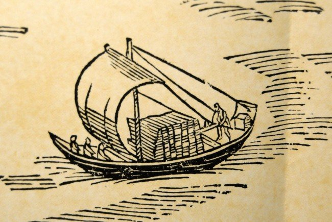 """Mit solchen Lädinen erfolgte der Warentransport über den See von Lindau nach Fußach. Darstellung aus der """"Emser Chronik"""" von 1616."""
