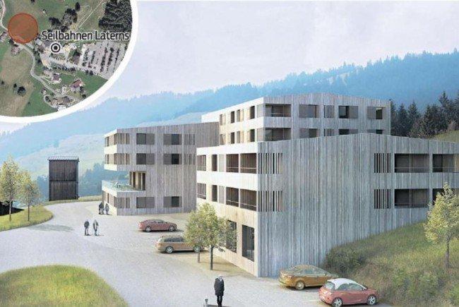 Das geplante Jufa-Hotel in Laterns, neben der Talstation der Sesselbahn Gapfohl.