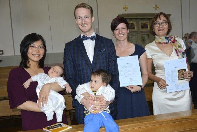 Gabriel und Saphira Gurschler-Wang wurden am 18. Juni in St. Martin getauft.