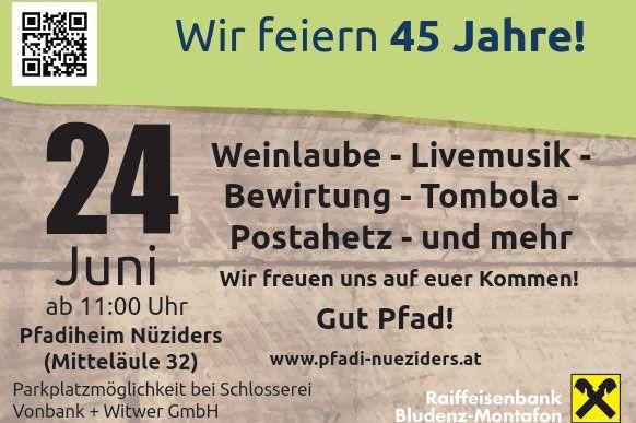 Einladung zur 45-Jahr-Feier der Pfadfinder Nüziders