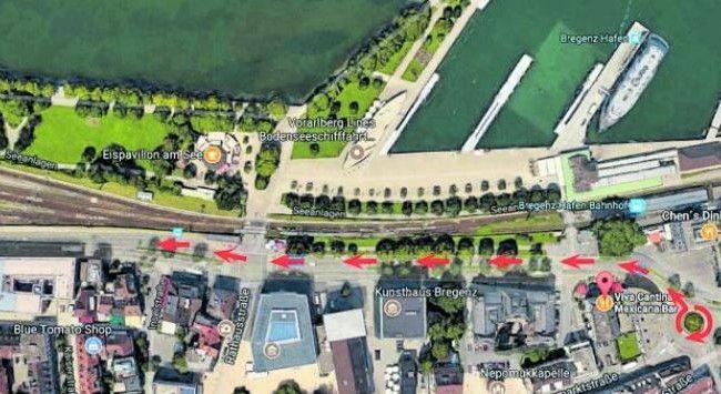 Angebliche Rennstrecken: die Seestraße in Bregenz. Auch die Rheinstraße und die Bregenzerstraße in Lochau seien Renn-Ziele.