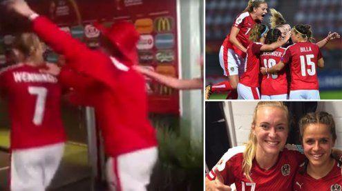So wild feiern die Wunder-Girls den Viertelfinaleinzug bei der EM