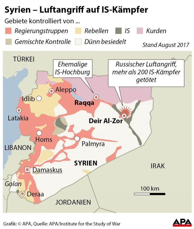 Russische Kampfjets töten 200 IS-Kämpfer