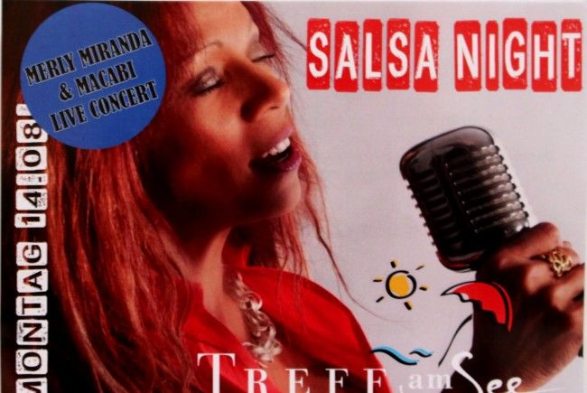 "Merly Miranda & Macabi – Live Concert bei der großen Salsa-Night-Party am 14. August im Lochauer Strandbad-Cafe-Restaurants ""Treff am See""."
