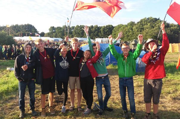 Scouts zum Jamboree in Sonderborg, Dänemark.