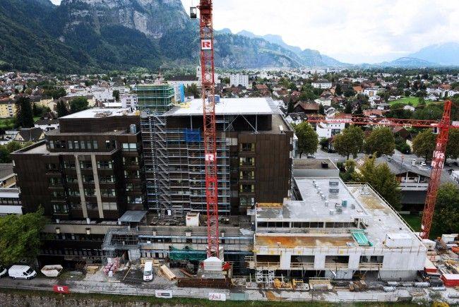 Baufortschritt am Krankenhaus Dornbirn.